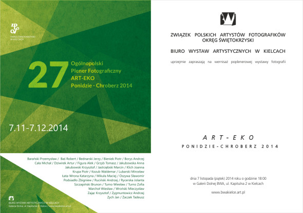 eZAPROSZENIE NA WERNISAŻ ART-ECO PONIDZIE-CHROBERZ 2014