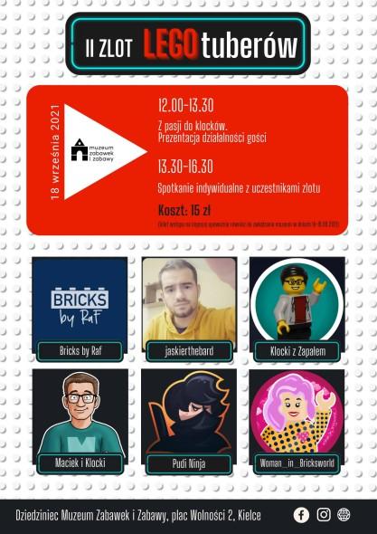 Po raz pierwszy w Kielcach, po raz drugi w Polsce, w Muzeum Zabawek i Zabawy odbędzie się II Zlot LEGOtuberów